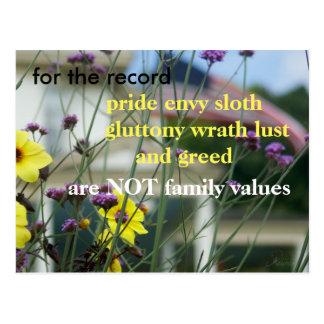 Postal ¡Deje su voz ser oído!  NO valores familiares