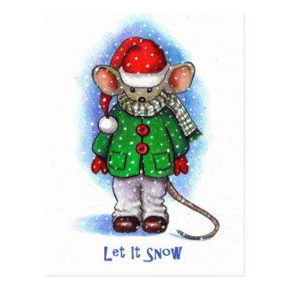 """Postal """"Déjelo nevar"""" pequeño ratón liado para el"""