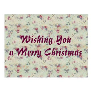 Postal del acebo, de las cerezas y del navidad de