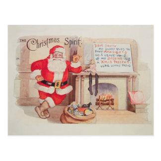 Postal del alcohol del navidad de Papá Noel del