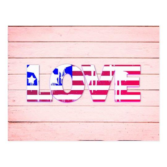 Postal del amor de la bandera americana