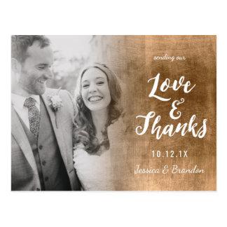 Postal del amor y de las gracias del boda de Ombre