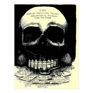 Postal del anuncio de la droga del cráneo del