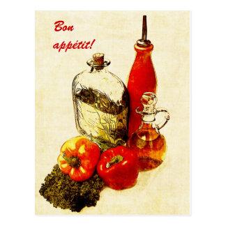 postal del appetit del paprika y del bon de los