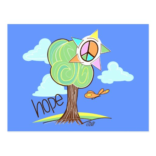 Postal del árbol de la esperanza