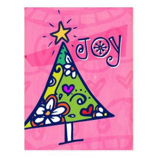 Postal del árbol de navidad de la alegría del día