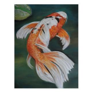 Postal del arte de los pescados de Koi de la