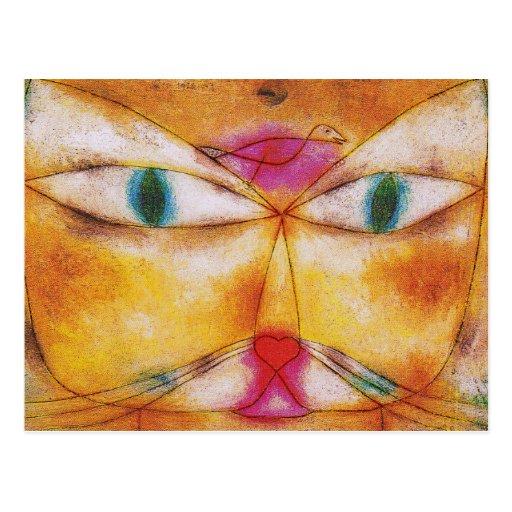 Postal del arte del gato: Gato y pájaro de Paul Kl