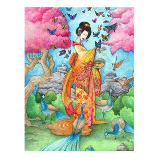 Postal del arte del pavo real de la mariposa del