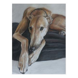Postal del arte del perro del galgo