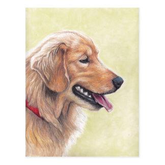 Postal del arte del perro del perfil del golden