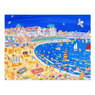 Postal del arte: Diversión en la playa. Playa de