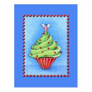 Postal del azul de la magdalena del árbol de navid