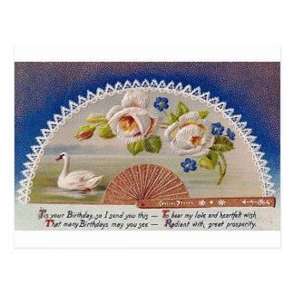 Postal del azul del cisne del cumpleaños del