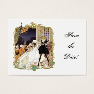 Postal del baile de disfraces y del pavo real tarjeta de negocios