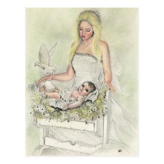Postal del bebé de la madre del ángel