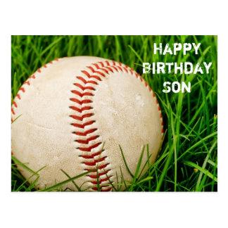 Postal del béisbol del hijo del feliz cumpleaños