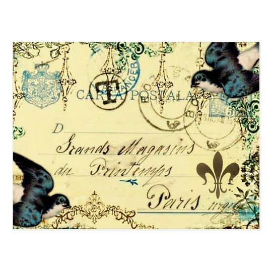 Postal del Bluebird de París del vintage