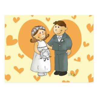 Postal del boda del corazón