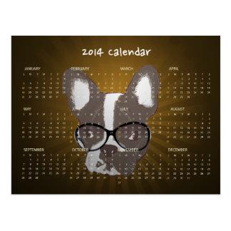Postal del calendario del dogo francés 2014 del in