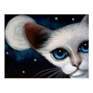 Postal del CAT SIAMÉS y de la LUNA LLENA