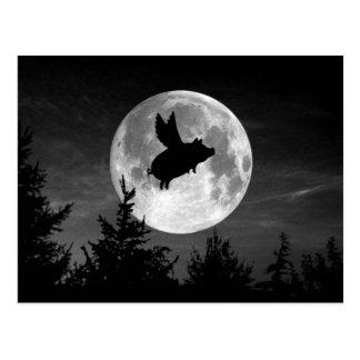 postal del cerdo del vuelo de la Luna Llena