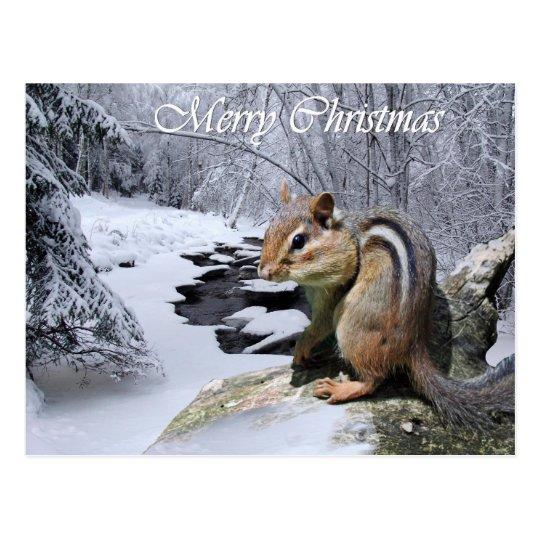 Postal del Chipmunk de las Felices Navidad