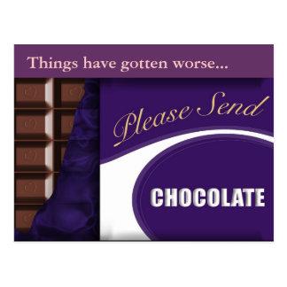"""postal del chocolate del lema """"envíe por favor"""""""