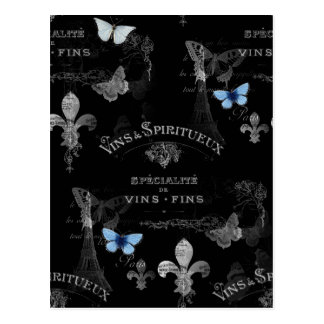 Postal del collage de las mariposas de Toujours Pa