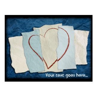 Postal del corazón del pedazo