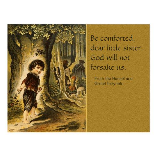 Postal del cuento de hadas de Hansel y de Gretel