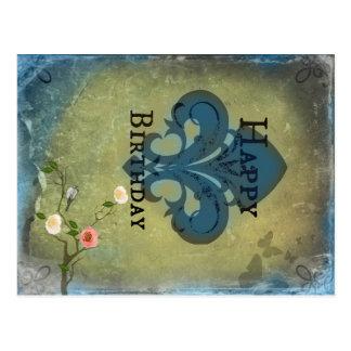 Postal del cumpleaños de la flor de lis
