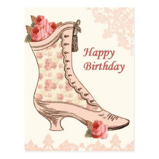 Postal del cumpleaños del vintage con el zapato y