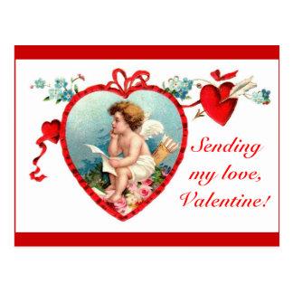Postal del Cupid del el día de San Valentín del vi