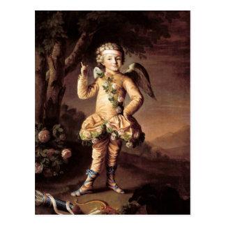 Postal del Cupid del vintage y de la tarjeta del