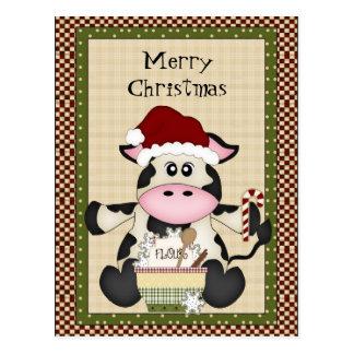 Postal del día de fiesta de la vaca del navidad