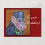 Postal del día de fiesta del cerdo del navidad