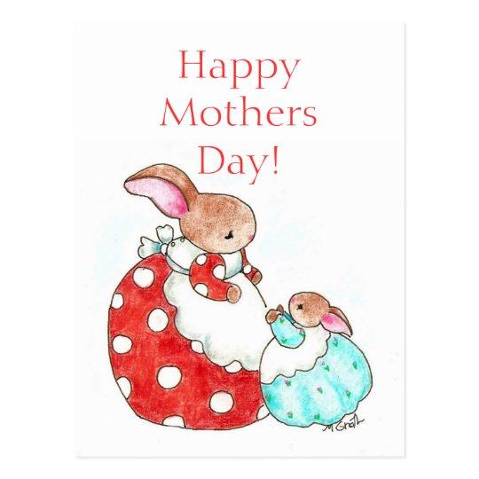 postal del día de madre del conejito