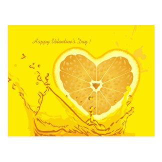 Postal del día de Velentine del corazón del limón