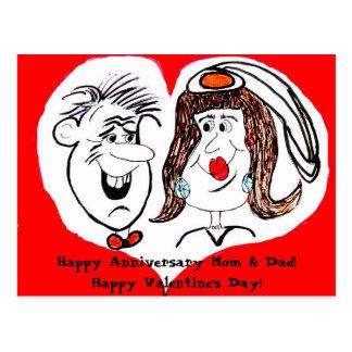 Postal del dibujo animado del aniversario del el
