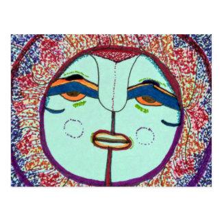 Postal del Doodle de la cara de luna
