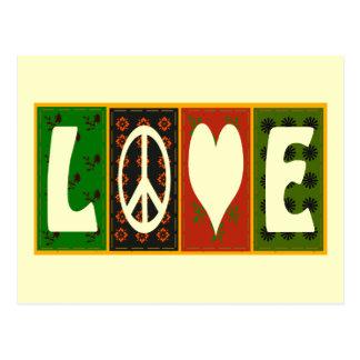 Postal del edredón del amor de la paz