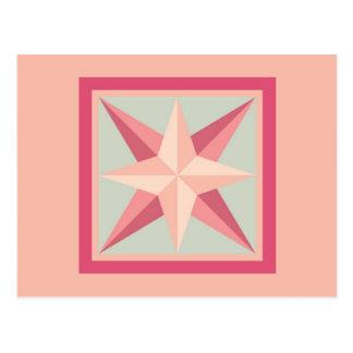 Postal del edredón - estrella biselada (rosa/gris)