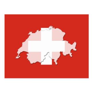 Postal del esquema del mapa de la bandera de Suiza