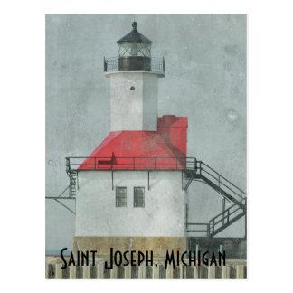 Postal del faro de San José Michigan
