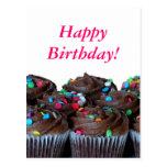 Postal del feliz cumpleaños de las magdalenas del