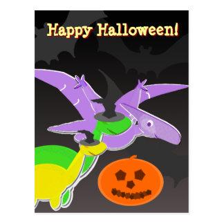 Postal del feliz Halloween de los dinosaurios