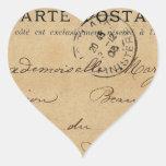 Postal del francés del vintage pegatina corazón personalizadas