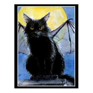 Postal del gargoyle del gato negro de Halloween