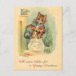 Postal del gatito del navidad del vintage